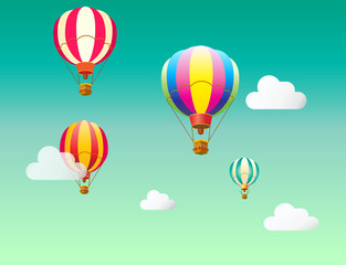 Hot air balloon in the sky with clouds background. Air balloons, flying. Vector illustration for kids books, greeting cards, advertising, banners design.