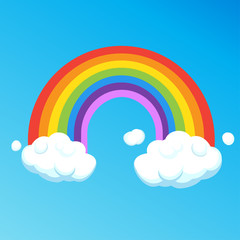 Rainbow with clouds isolated on blue sky background. Colorful Rainbow and cloud cartoon vector illustration. Sticker, label, icon for print, banner card graphic design Ultraviolet