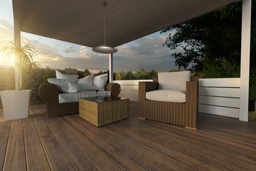 Rattan Möbel auf Holzsteg im Garten