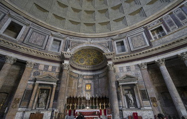 Pantheon in Rome. Ancient roman pantheon. Interior view. Rome, I