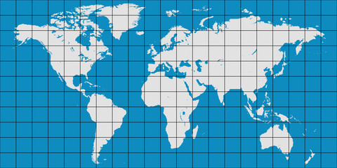 world map with coordinate grid and meridian and parallel, map of planet earth
