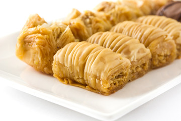 Turkish dessert baklava isolated on white background