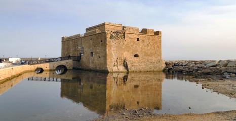 Old castle on Mediterranean sea coast. Paphos, Cyprus.