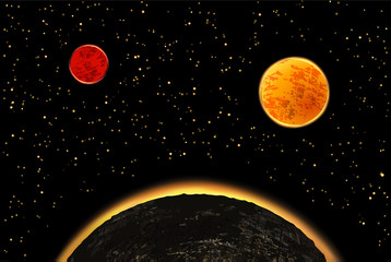 Exoplanets or extrasolar planets. Vector illustration. Universe filled with stars.