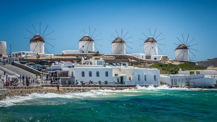 Mykonos, Cyclades Islands, Greece. Famous windmills during a clear and bright summer day.