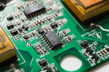 Computer motherboard components close up
