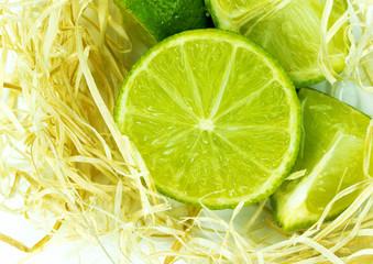 Sliced juicy ripe lime closeup