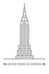 United States of America icon with Empire State Building and US flag