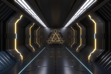 Science background fiction interior rendering corridor and Yellow light,3D rendering