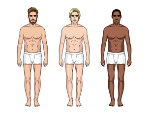 Vector illustration of three men different nationalities in underwear on the white background. Vector  realistic figure of the standing man in front