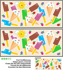 Picture puzzle: Find the ten differences between the two pictures of yummy ice cream bars and cones. Answer included.