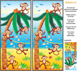 Visual puzzle: Find the ten differences between the two pictures - playful monkeys, beach, coconut palm. Answer included.