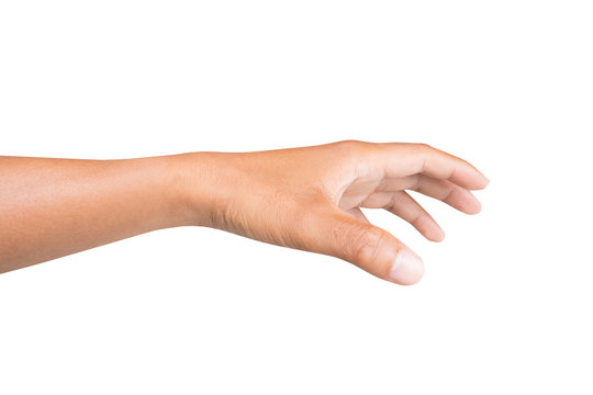 left side hand of a man trying to reach or grab something. fling, touch sign. Reaching out to the left. isolated on white background