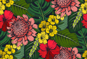 Vector seamless pattern with compositions of hand drawn tropical flowers