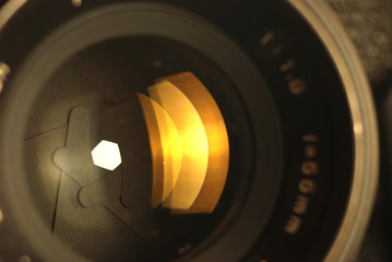 close-up of photographic lens