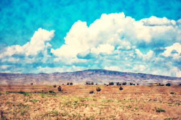 Desert landscape. Blue sky with white clouds. Summer steppe landscape. Hot desert with mountains view. Watercolor painting artwork. Oil drawing style.
