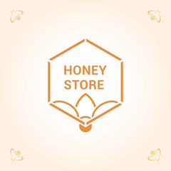Vector logo template for honey store. Illustration of honeycomb with bee. Can be used for textile design, design of banners, company identity. Creative logotype in orange colors.