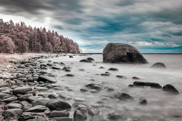 Baltic sea shore with boulders. Infrared color swapped photograph.