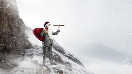 Santa looking for the way. Mixed media