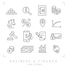 Set of line thin business and financial icons. Gold, graph, safe storage, coins, libra, dollars, gavel, smartphone lock, money card lock, euro dollar exchange, money point.
