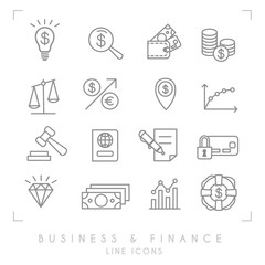 Set of line thin business and financial icons. Business idea bulb, magnifier, wallet, coins, libra, arrow, point, graph, gaver, pass, contract, card lock, diamond, dollars, lifebuoy.