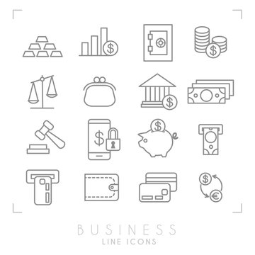 Set of line thin business and financial icons. Gold, graph, safe storage, coins, libra, purse, bank, dollars, gavel, smartphone lock, piggy bank, card slot, wallet, card, euro dollar exchange.