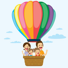 Foto auf Leinwand Regenbogen Happy family riding on colorful hot air balloon together