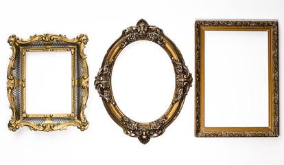 Elegant, ancient, vintage, museum, golden framework, baroque, on white background