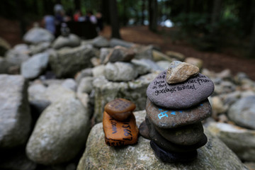 "A rock with a quote from ""Walden"" is stacked at the site of the cabin of the book's author, Henry David Thoreau, on Walden Pond in Concord"