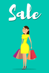 Happy woman with shopping. Happy woman holding shopping bags. Vector illustration in flat style