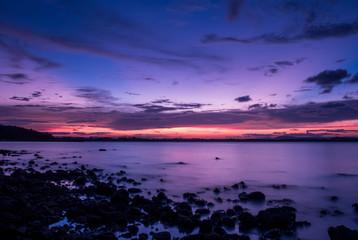 twilight at the rock beach
