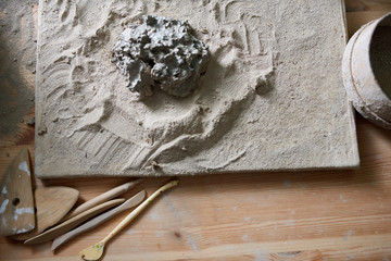 A clump of fresh clay for pottery