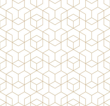 seamless geometric line grid vector cubes pattern