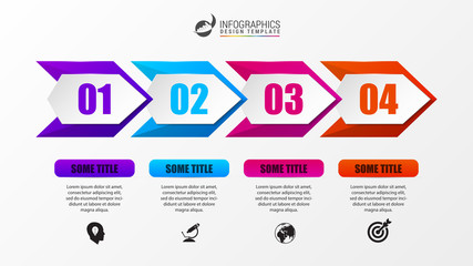Infographic design template. Timeline concept with arrows