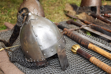 Old medieval helmet of the knight