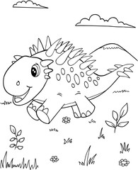 Poster Cartoon draw Cute Dinosaur Vector Illustration Art