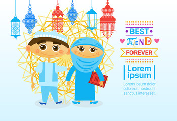 Happy Friendship Day Greeting Card Arab Kids Friends Holiday Banner Vector Illustration
