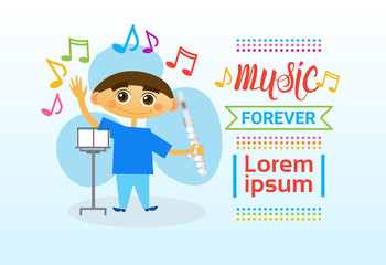 Small Boy Playing Flute Musical Instrument Flat Vector Illustration