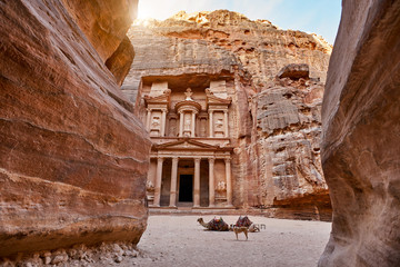 The temple-mausoleum of Al Khazneh in the ancient city of Petra in Jordan Wall mural