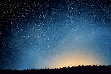 Stars in night sky. Blue dark night sky with many stars above field of grass. Shining Stars and Clouds. Background illustration
