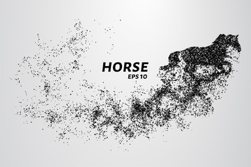 Horse of the particles. The horse is made up of little circles.