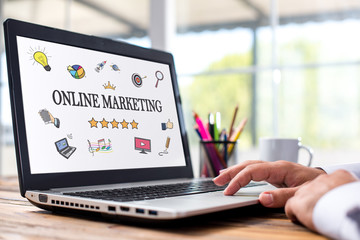 Online Marketing Concept On Laptop Monitor