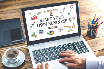 Start Your Own Business Concept On Laptop Monitor