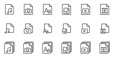thin line different type file icons set on white background