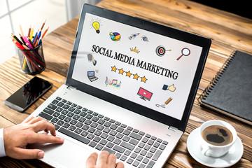 Social Media Marketing Concept On Laptop Monitor