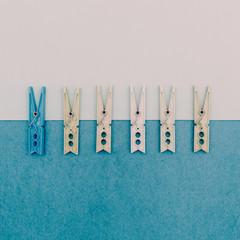 Set of vintage clothespins.minimal art style