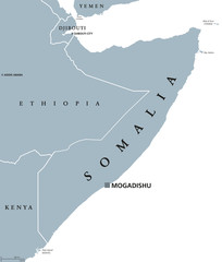 Somalia political map with capital Mogadishu. Federal republic and country in the Horn of Africa. Coastline along Gulf of Aden and Indian Ocean. Gray illustration over white. English labeling. Vector.