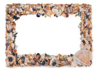 Empty picture frame made with pieces of seashells with blank space inside, isolated on a white background.