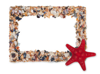 Empty picture frame made with pieces of seashells and sea star, with blank space inside, isolated on a white background.