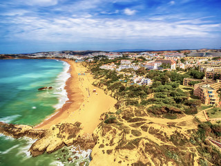 Algarve, Portugal: aerial UAV photo of Albufeira at sunrise